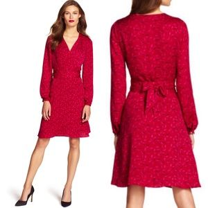 Adrianna Papell V Neck Long Sleeve Wrap Dress
